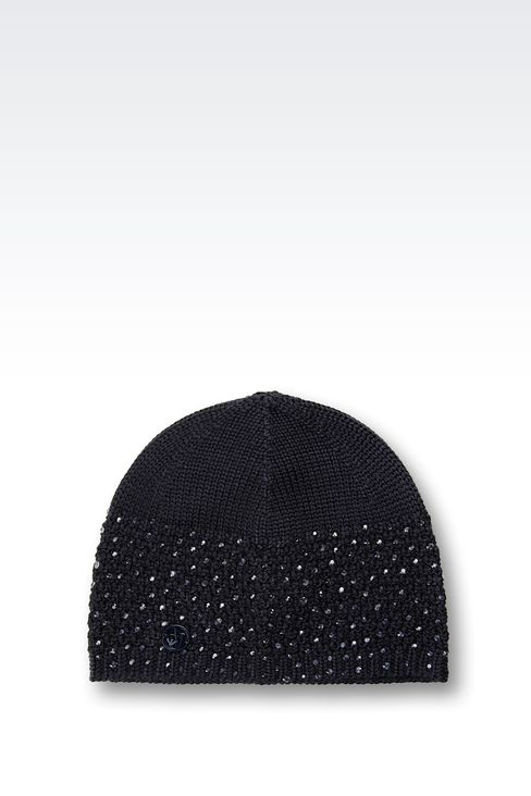 WOOL BLEND BERET WITH RHINESTONES: Hats Women by Armani - 1
