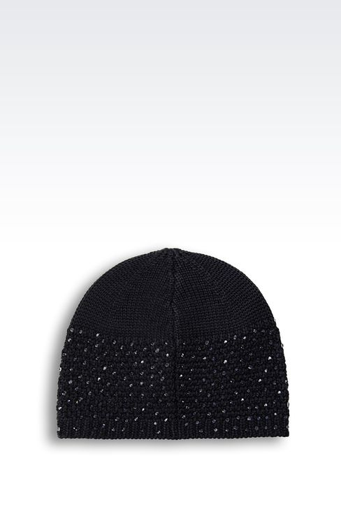 WOOL BLEND BERET WITH RHINESTONES: Hats Women by Armani - 2