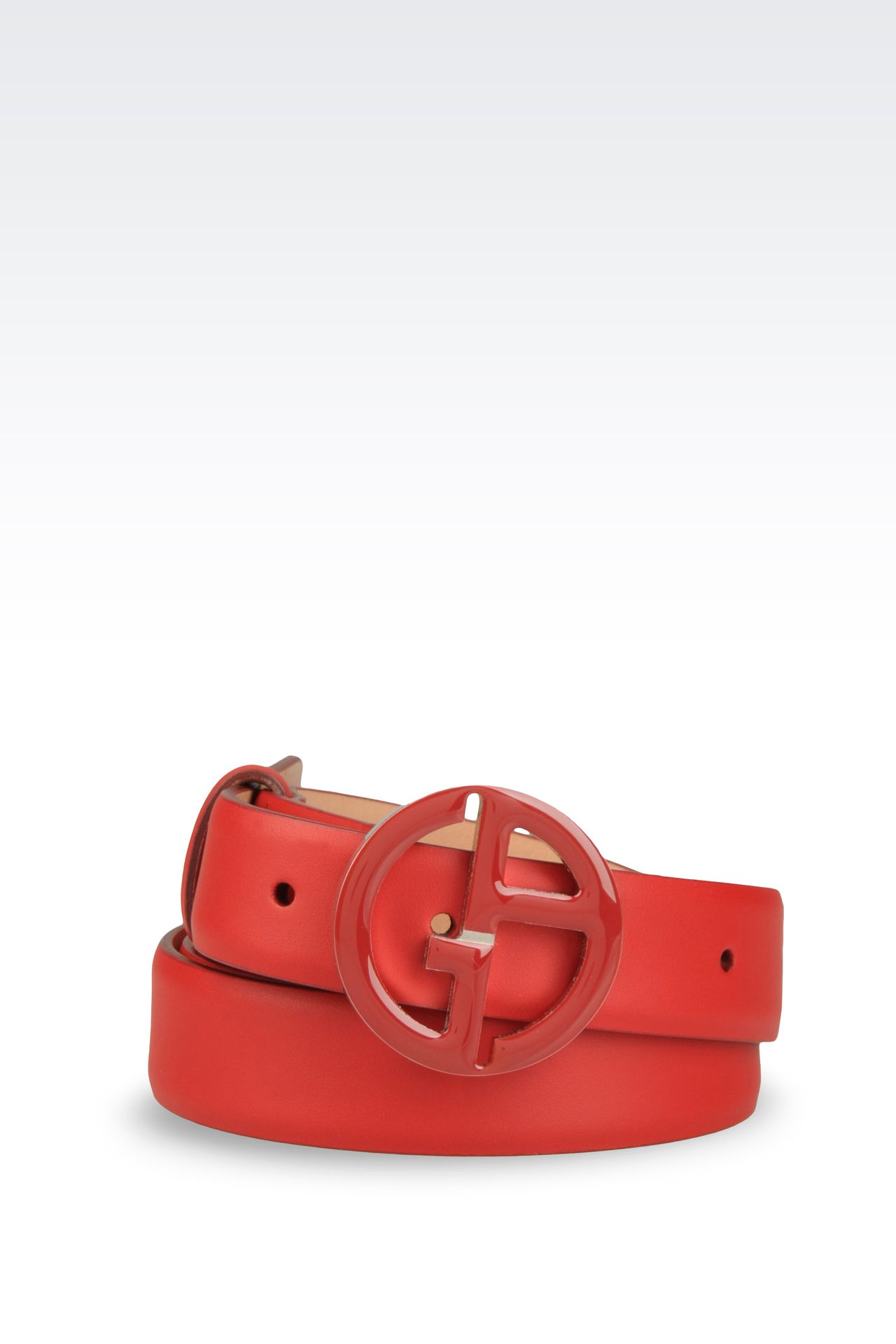 LEATHER BELT WITH GA BUCKLE: Leather belts Women by Armani - 0