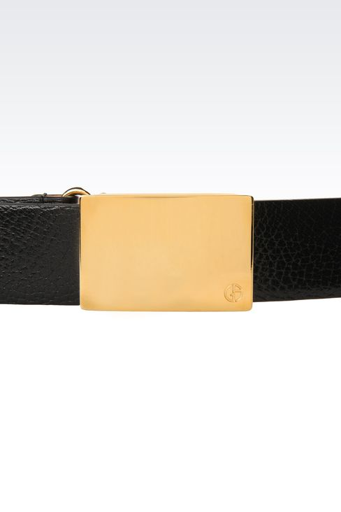 LEATHER BELT WITH GOLD BUCKLE: Leather belts Women by Armani - 3