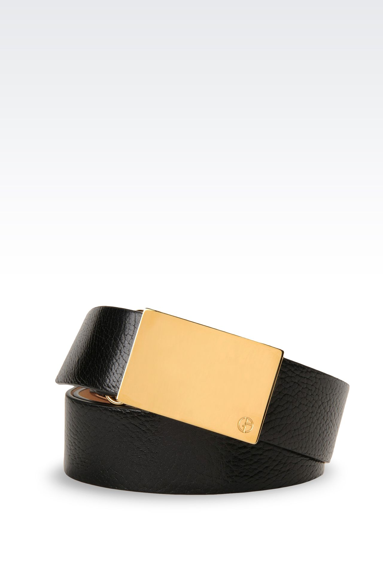 LEATHER BELT WITH GOLD BUCKLE: Leather belts Women by Armani - 0