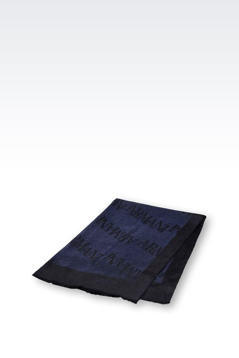 SCARF IN WOOL AND VISCOSE WITH ALL OVER LOGO: Stoles Men by Armani - 2