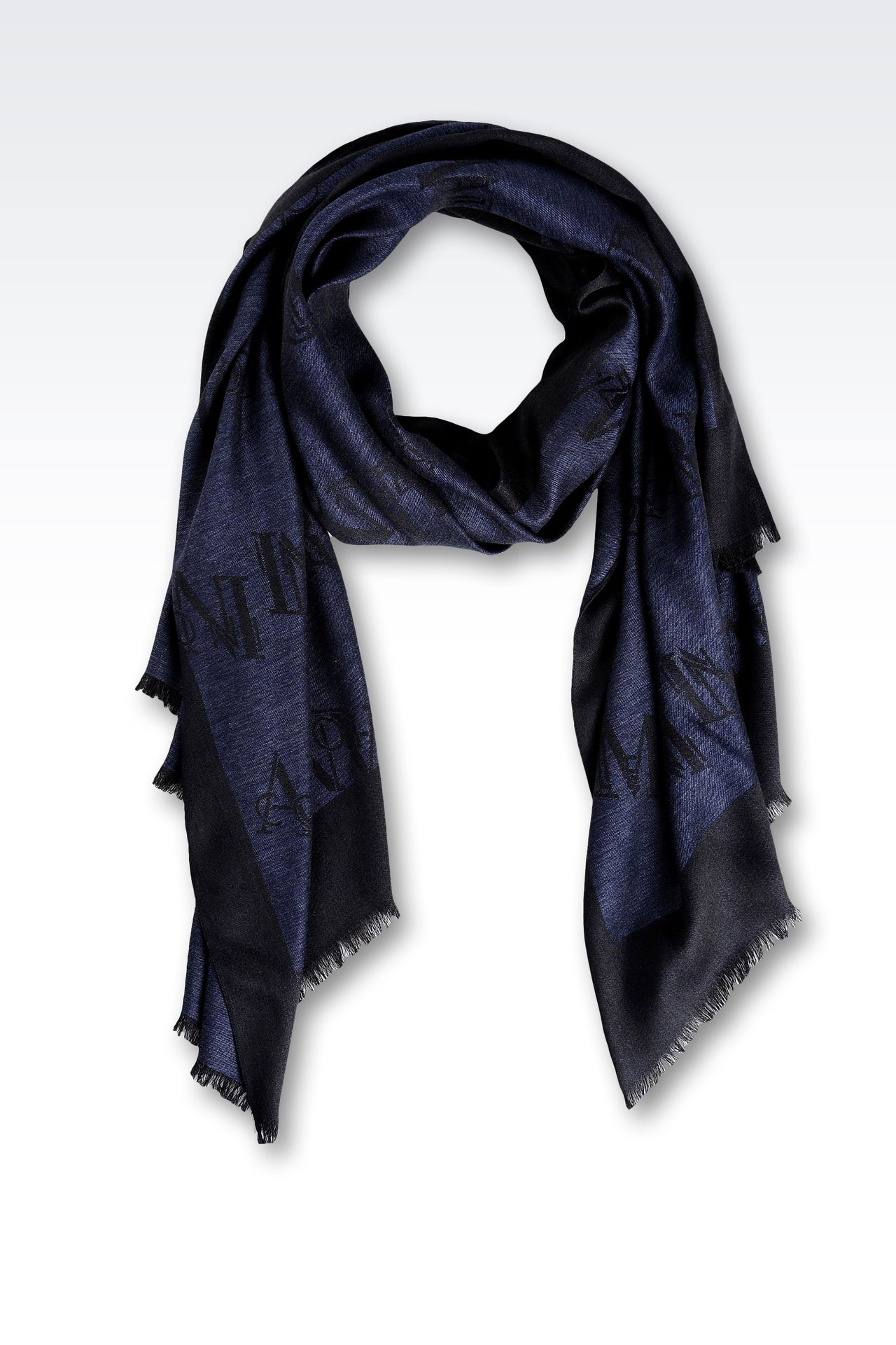 SCARF IN WOOL AND VISCOSE WITH ALL OVER LOGO: Stoles Men by Armani - 0