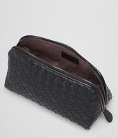 MEDIUM COSMETIC CASE IN NERO INTRECCIATO NAPPA