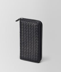 BOTTEGA VENETA - Wallets, Nero Intrecciato Nappa Zip Around Wallet