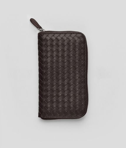 BOTTEGA VENETA - Ebano Intrecciato VN Zip Around Wallet