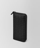 ZIP AROUND WALLET IN NERO INTRECCIATO VN