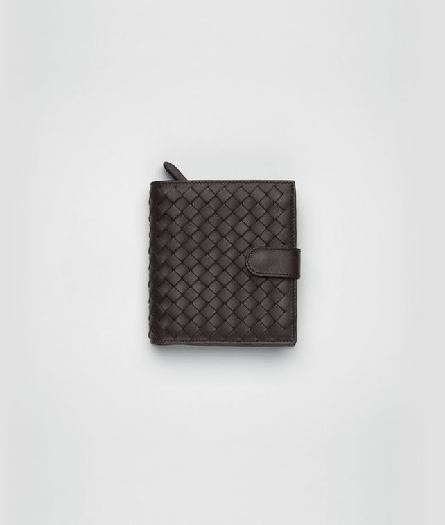 BOTTEGA VENETA Ebano Intrecciato Nappa French Flap Wallet Mini Wallet or Coin Purse D fp