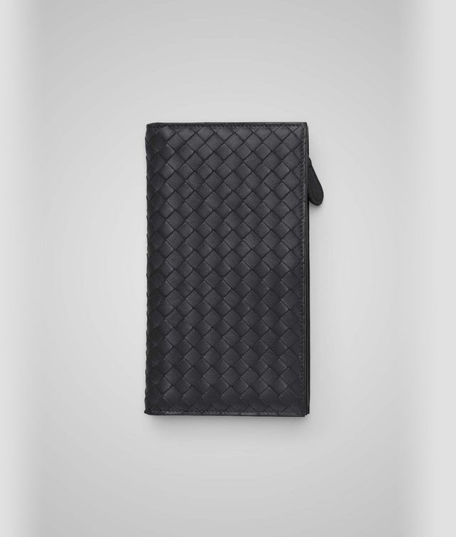 Portefeuille continental en nappa intrecciato nero