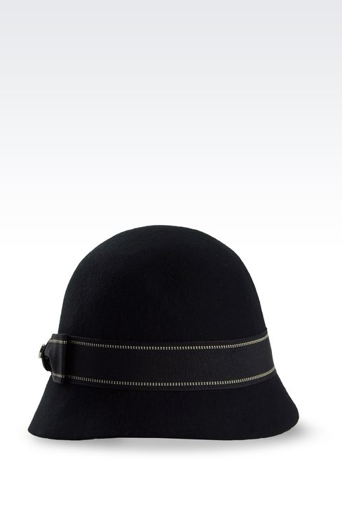 FELT CLOCHE HAT WITH GROSGRAIN BOW: Hats Women by Armani - 1