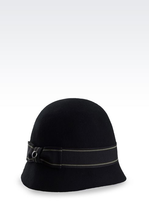 FELT CLOCHE HAT WITH GROSGRAIN BOW: Hats Women by Armani - 2