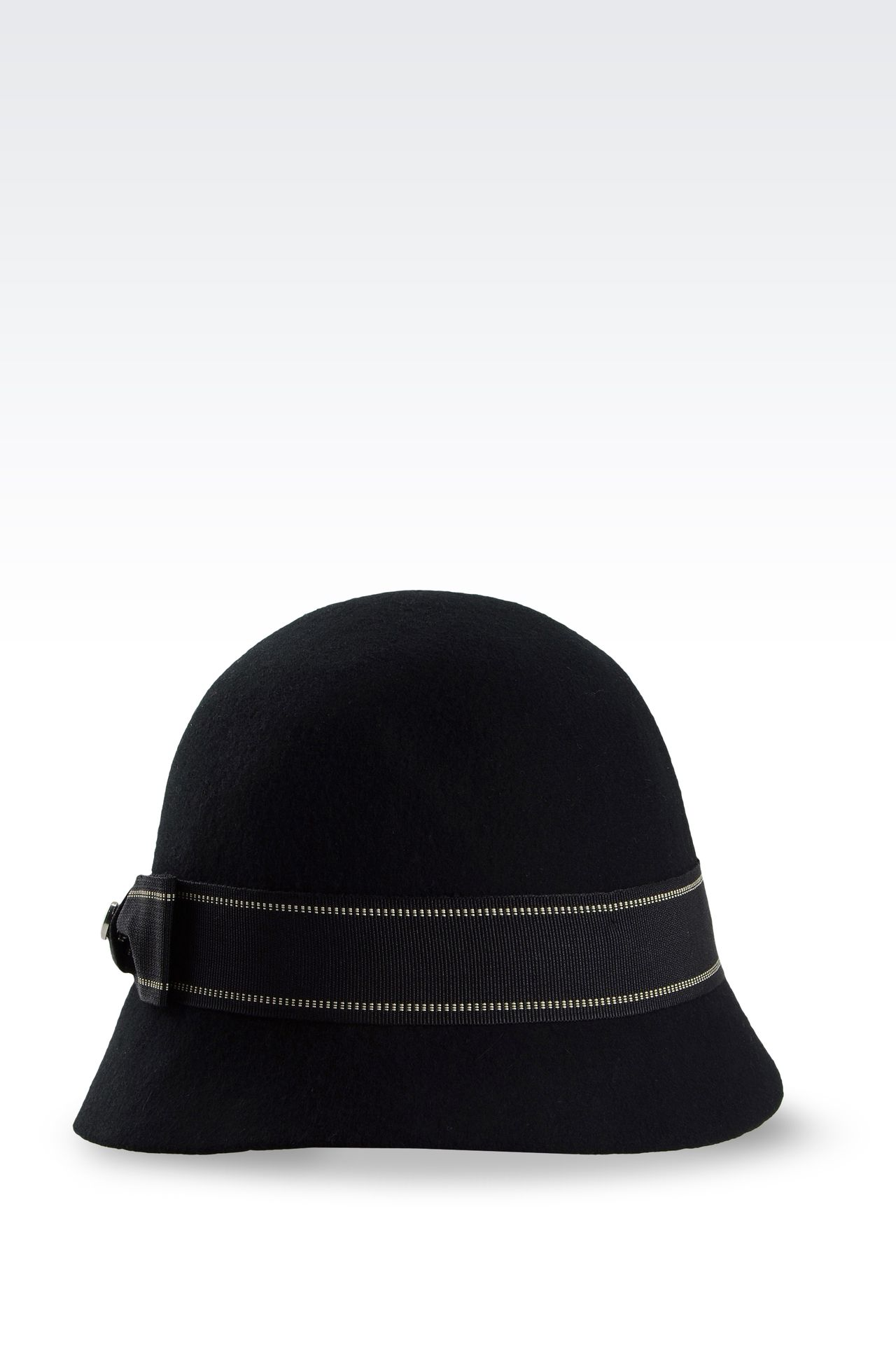 FELT CLOCHE HAT WITH GROSGRAIN BOW: Hats Women by Armani - 0