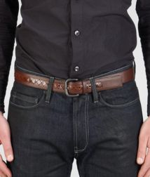 BOTTEGA VENETA - Belts, Cioccolato Ebano Light Calf Intreccio Scolpito Belt