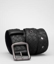 BOTTEGA VENETA - Accessories, Nero Intrecciato Nappa Belt