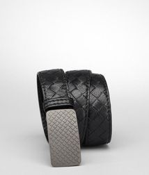 BOTTEGA VENETA - Belts, Nero Intrecciato Buffalo Sport Belt