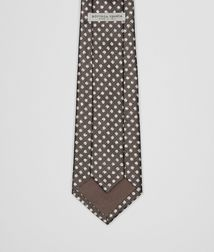 BOTTEGA VENETA - Ties, Coffee Ivory Silk Tie