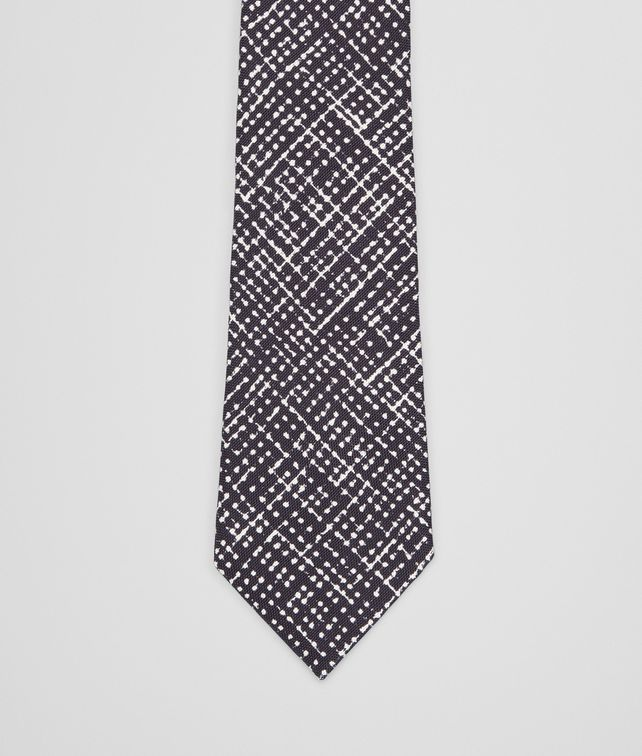 Midnight Blue Beige Silk Tie