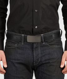 BOTTEGA VENETA - Belts, Nero Waxed Leather Belt