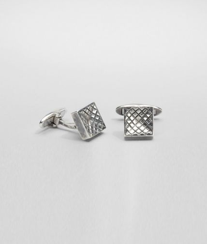 BOTTEGA VENETA - Intrecciato Antique Silver Cufflinks