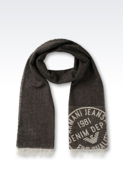 WOOL AND CASHMERE SCARF: Scarves Men by Armani - 1