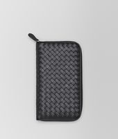 Zip Around Wallet aus VN-Leder Intrecciato Nero