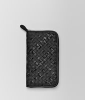 ZIP AROUND WALLET IN NERO INTRECCIATO NAPPA AND AYERS