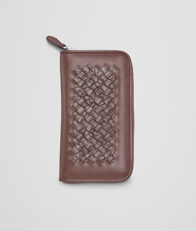ZIP AROUND WALLET IN EDOARDO EBANO FUME CALF AND CROCODILE, INTRECCIATO DETAILS