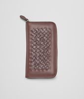 Edoardo Ebano Light Calf Soft Crocodile Fume Zip Around Wallet
