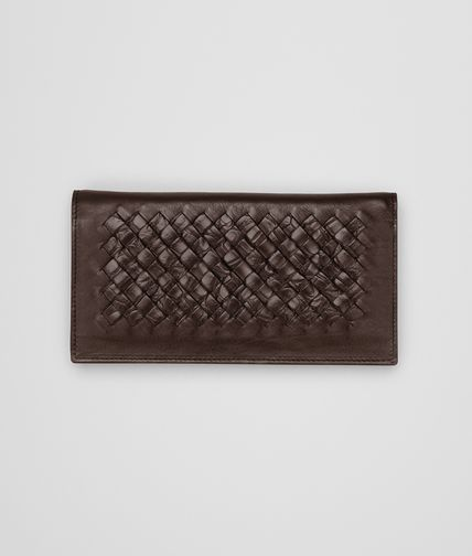 BOTTEGA VENETA - Edoardo Ebano Light Calf Soft Crocodile Fume Continental Wallet