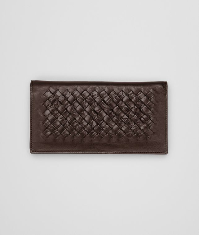 CONTINENTAL WALLET IN EDOARDO CALF AND CROCODILE, INTRECCIATO DETAILS