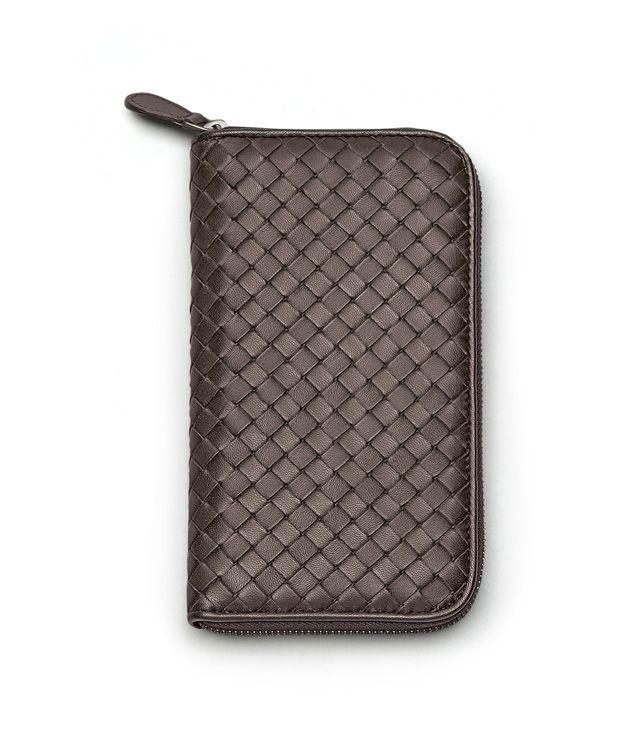 ZIP AROUND WALLET IN EBANO INTRECCIATO NAPPA