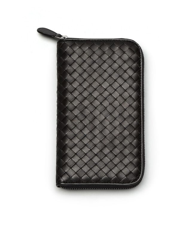 BOTTEGA VENETA ZIP AROUND WALLET IN NERO INTRECCIATO NAPPA Zip Around Wallet D fp