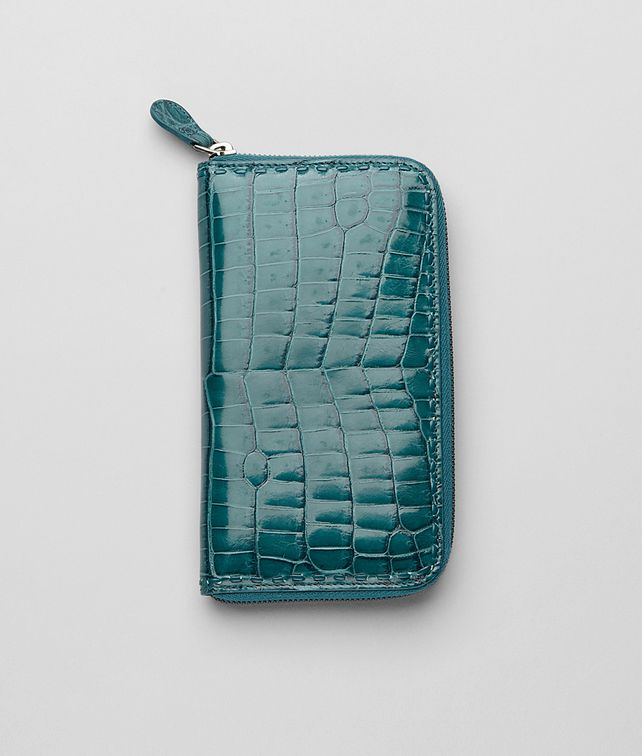Teal Shiny Crocodile Fumé Zip Around Wallet
