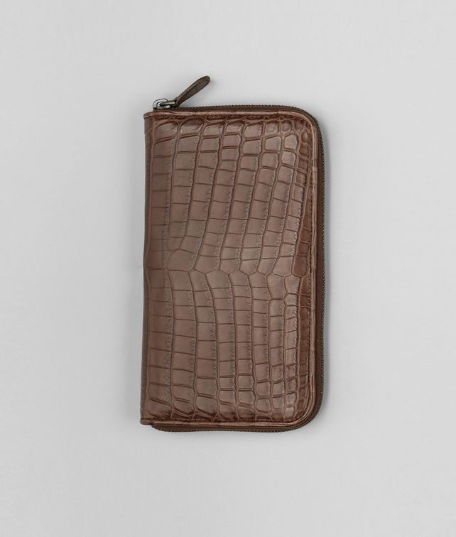 Edoardo Soft Crocodile Fume Zip Around Wallet