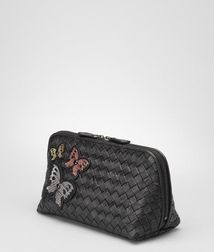 BOTTEGA VENETA - Cosmetic Cases, Nero Multicolor Intrecciato Ayers Butterfly Cosmetic Case