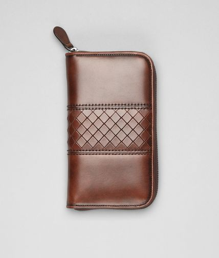 BOTTEGA VENETA - Ebano Intreccio Scolpito Zip Around Wallet