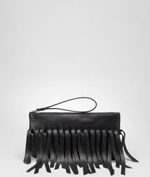 BOTTEGA VENETA - Cosmetic Cases, Nero Intrecciato Nappa Fringe Pouch