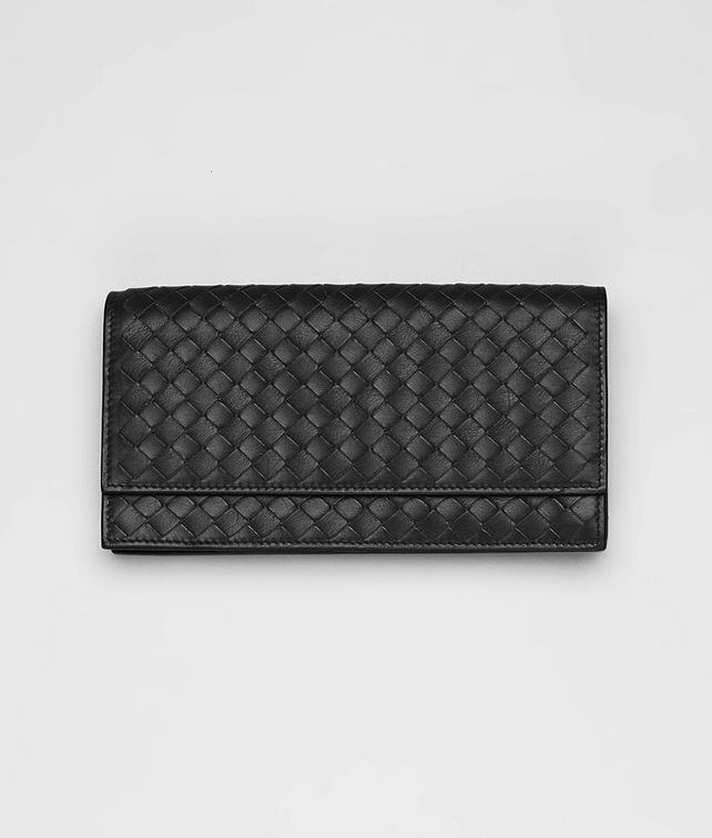 BOTTEGA VENETA Nero Intrecciato Light Calf Continental Wallet Continental Wallet D fp