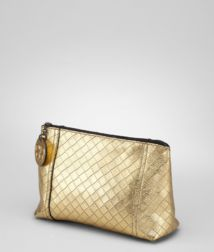 BOTTEGA VENETA - Cosmetic Cases, Gold Intrecciomirage Cosmetic Case