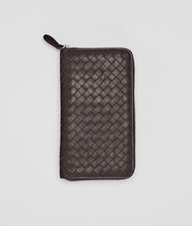 BOTTEGA VENETA - Wallets, Ebano Intrecciato Nappa Zip Around Wallet