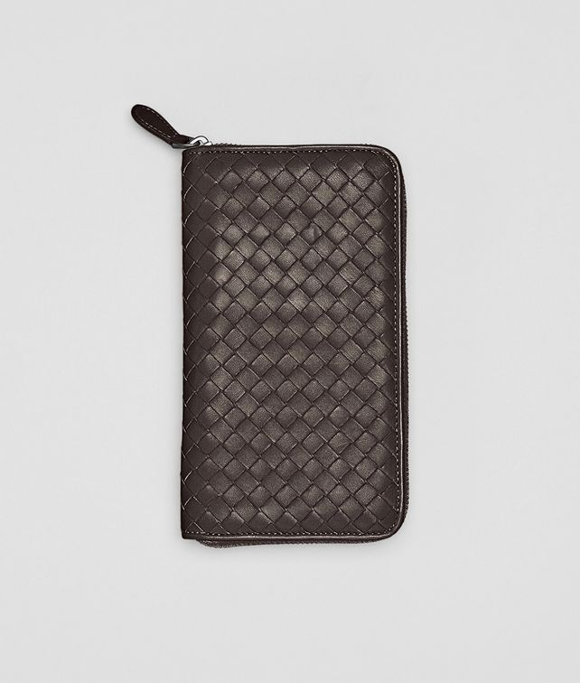 BOTTEGA VENETA Ebano Intrecciato Nappa Zip Around Wallet Zip Around Wallet D fp