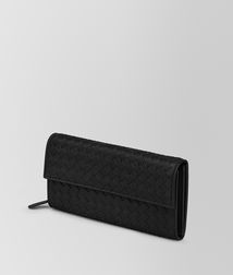 BOTTEGA VENETA - Wallets, Nero Intrecciato Nappa Continental Wallet
