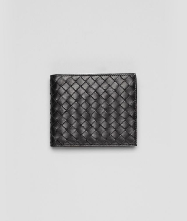 BOTTEGA VENETA Portemonnaie aus VN-Leder Intrecciato Nero Faltbares Portemonnaie U fp