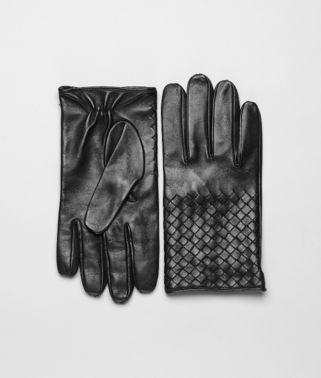 Handschuhe aus weichem Nappaleder Intrecciato Nero