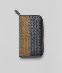BOTTEGA VENETA - Wallets, Ardoise Bronze Frontiere Intrecciato Club Fume Zip Around Wallet