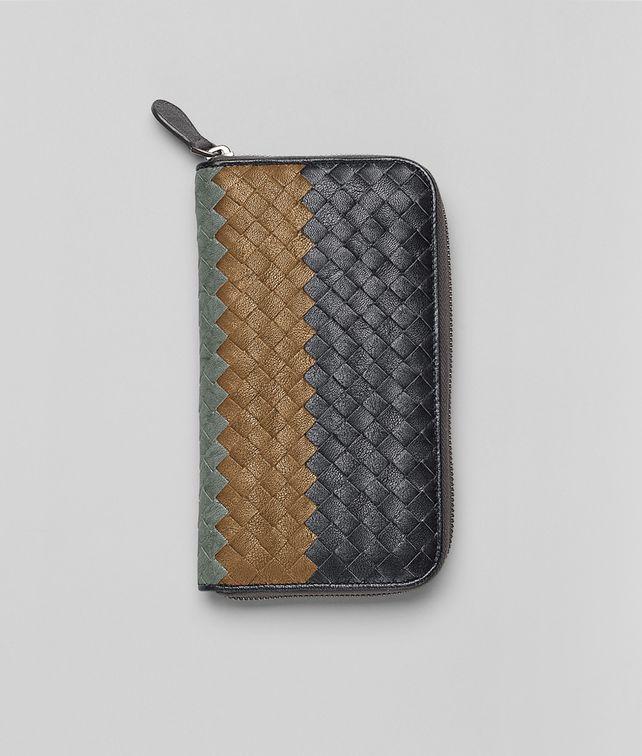 BOTTEGA VENETA Ardoise Bronze Frontiere Intrecciato Club Fume Zip Around Wallet Zip Around Wallet U fp