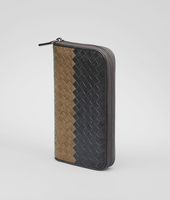 Ardoise Bronze Frontiere Intrecciato Club Fume Zip Around Wallet