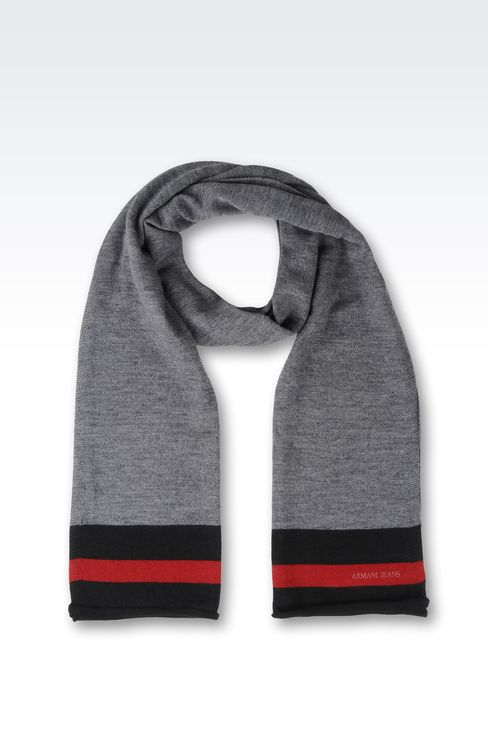 WOOL BLEND SCARF WITH CONTRASTING BORDERS: Scarves Men by Armani - 1
