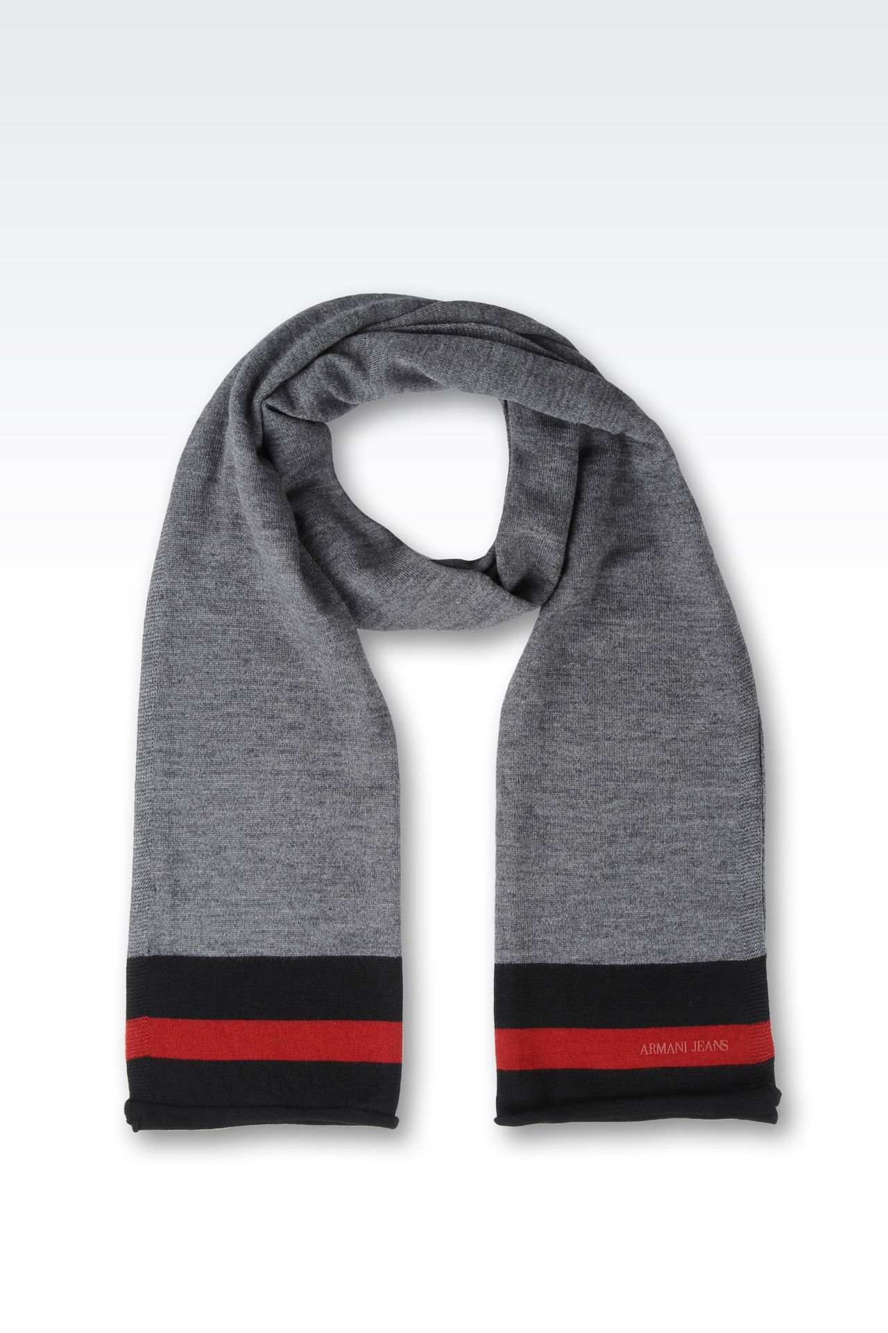 WOOL BLEND SCARF WITH CONTRASTING BORDERS: Scarves Men by Armani - 0