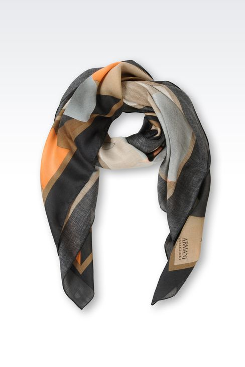 SCARF IN GEOMETRIC DESIGN MODAL AND CASHMERE: Foulards Women by Armani - 1